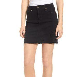 Good American Distressed Denim Mini Skirt - BLACK